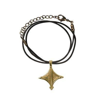 CN157CRBZ Ciondolo in bronzo con collare in cotone nero