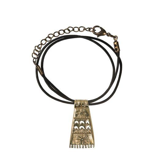 CN212CRBZ Ciondolo in bronzo con collare in cotone nero