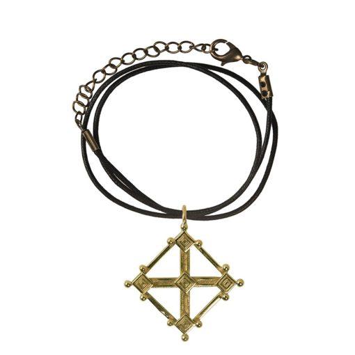 CN239CRBZ Ciondolo in bronzo con collare in cotone nero