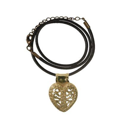 CN265CRBZ Ciondolo in bronzo con collare in cotone cerato nero